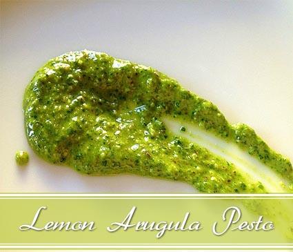 arugula pesto with lemon olive oil