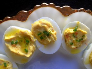 Deviled eggs with EVOO