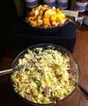 coleslaw with peach vinegar and jalapeno olive oil