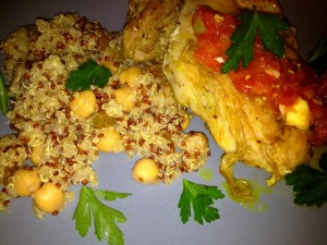 north african chicken with tomato ginger chutney and spiced quinoa