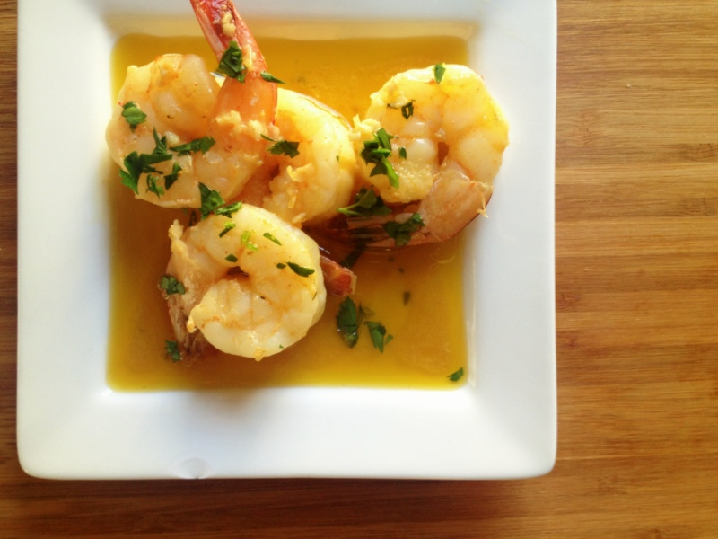 shrimp in garlic and olive oil sauce
