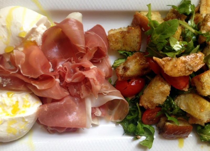 Panzanella Salad with Prosciutto and Burrata