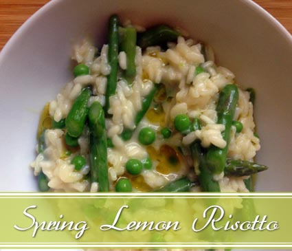 risotto with asparagus, peas, and lemon olive oil