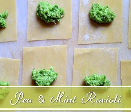 pea ravioli with lemon olive oil
