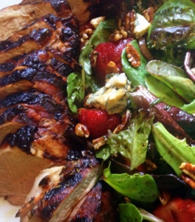 balsamic marinated grilled pork with strawberry salad