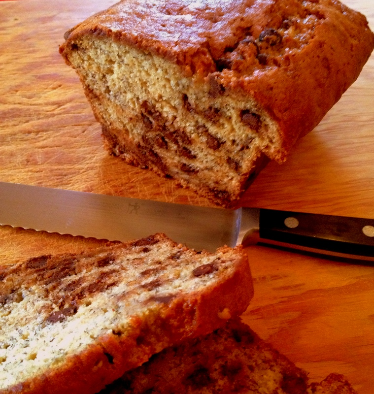 Chocolate Chip Banana Bread made with olive oil
