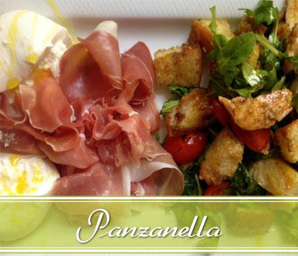 panzanella salad with prosciutto and burrata