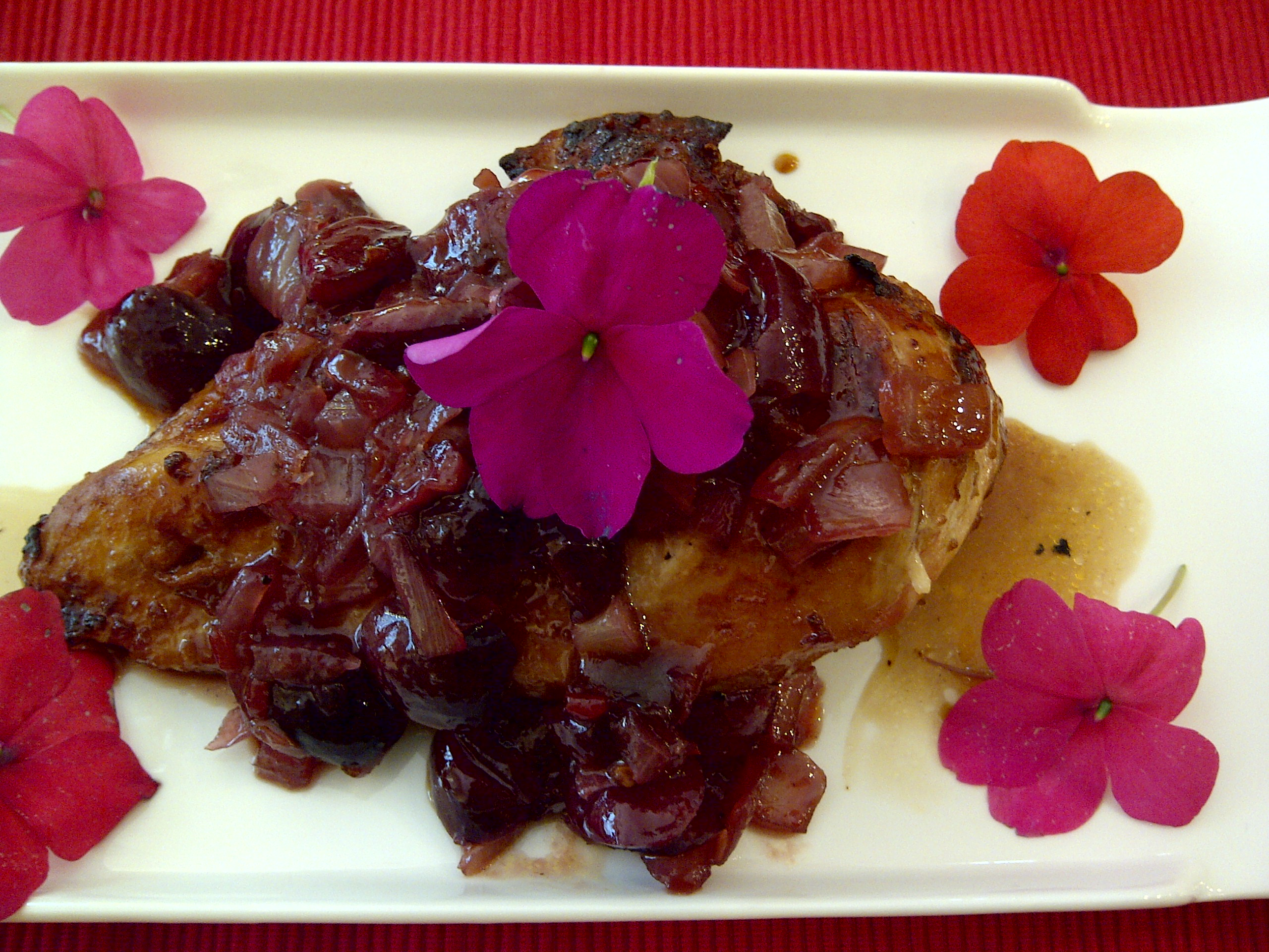 Grilled Chicken with Cherry and Onion Sauce