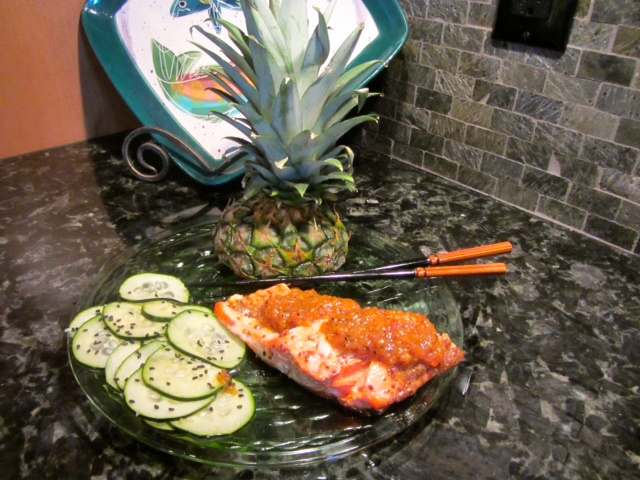 Thai Sunburn Salmon with Pineapple Chutney & Cooling Cucumber Salad ...