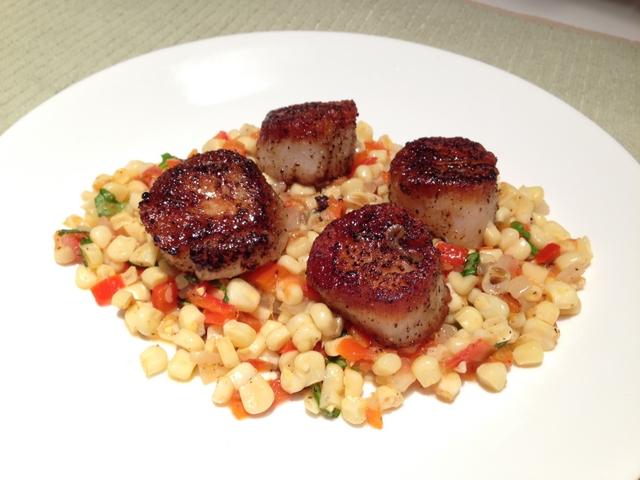 Garlic Pan-Seared Scallops with White Corn & Red Pepper Succotash