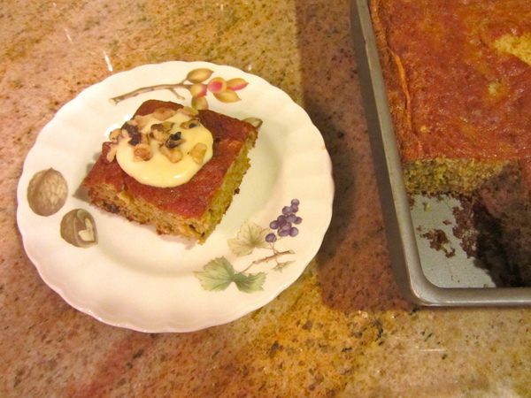 Roasted Pineapple Olive Oil Cake with Whipped Citrus Creme Fraiche Topping