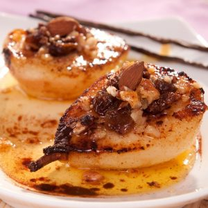 Roasted pears with olive oil and cinnamon